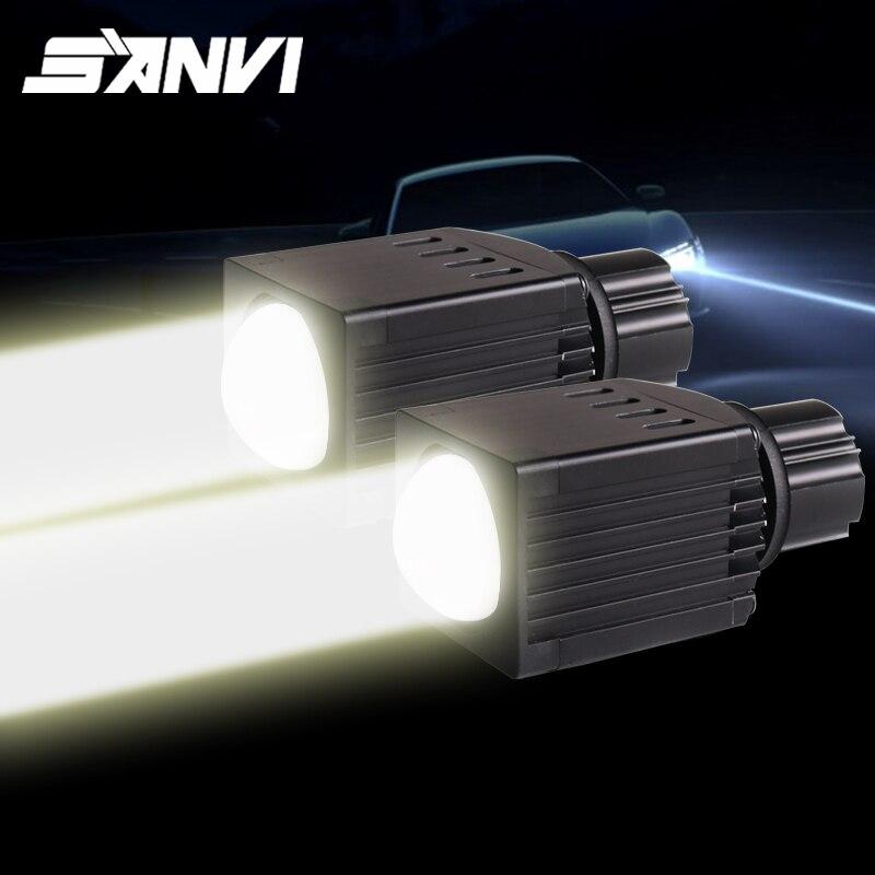 Sanvi 2 pçs feixe alto led lente do projetor farol 12v 12w 4600k matriz led luz h7 9005 9006 luz de nevoeiro retrofit luz do carro diy