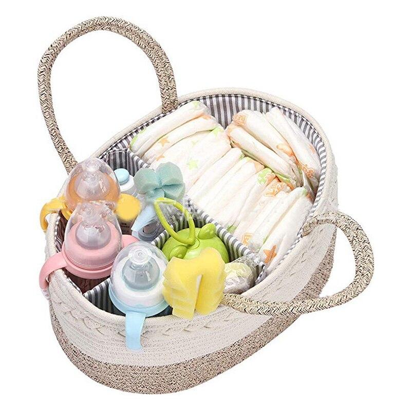 Bebê fralda caddy caixa de armazenamento dobrável multi-slots portátil berçário cuidados infantis organizador mesa 100% algodão sala cesta toalhetes