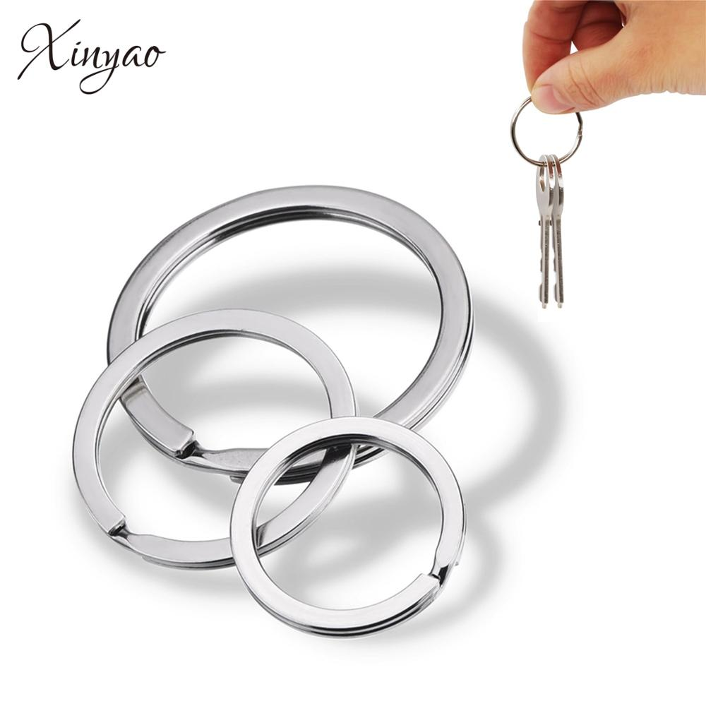 Xinyao 20 pcs/lot stainless steel Key Chain Ring Flat Round line key ring Keyrings Keychain Jewelry Making Wholesale