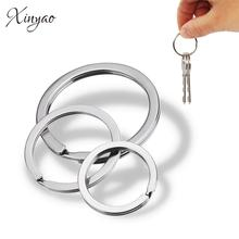 Xinyao 20 pcs/lot stainless steel Key Chain Key Ring Flat Round line key ring Keyrings Keychain Jewelry Making Wholesale все цены