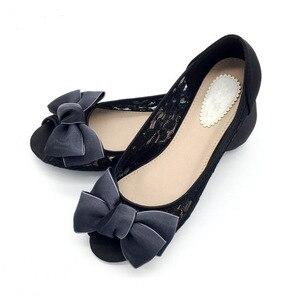Image 4 - 2020 ใหม่ล่าสุดรองเท้าแฟชั่นผู้หญิงหญิงบัลเล่ต์ตื้น Peep Toe รองเท้าเซ็กซี่สุภาพสตรีรองเท้าทำงานรองเท้า PLUS ขนาดสีดำ