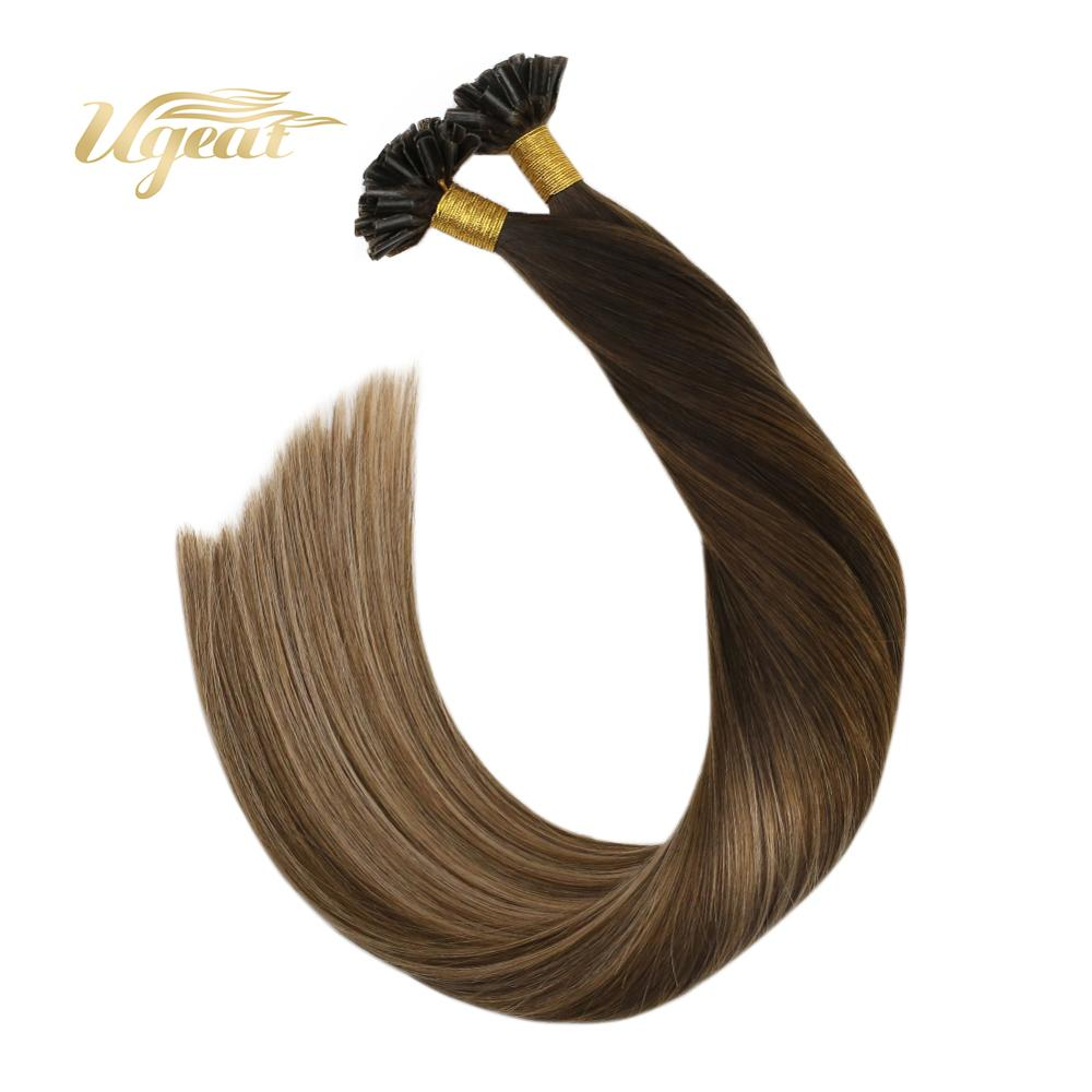 Ugeat Pre-Bonded Hair Extensions Real Human Hair Extensions 14-24 Inch Balayage Brown Hair Non-Remy Brazilian Human Hair 50-100G