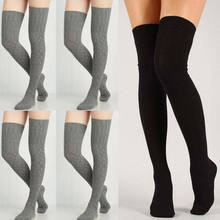 Frauen Winter Baumwolle Dick Crochet Kabel Knit Über knie Lange Boot Wolle Warme Oberschenkel Hohe Strümpfe Strumpfhosen Bein Wärmer Schwarz grau(China)