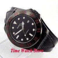 Parnis 43mm 10ATM Miyota Automatic men's watch PVD case black dial luminous sapphire glass black leather strap 391A