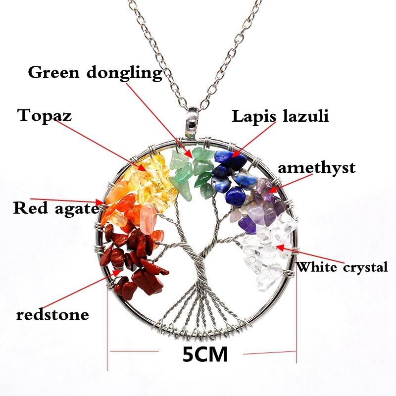 7 Chakra Quartz Natural Stone Tree of Life pendulum Pendant Necklace for Women  Healing Crystal Necklaces Pendants Reiki Jewelry 1