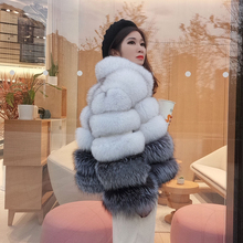 Winter Jacket New Real Fox Womens Fur Coat Leather Grass Short Coat Natural Fox Fur Fashion Luxury Stand Collar Coat Lady 2020
