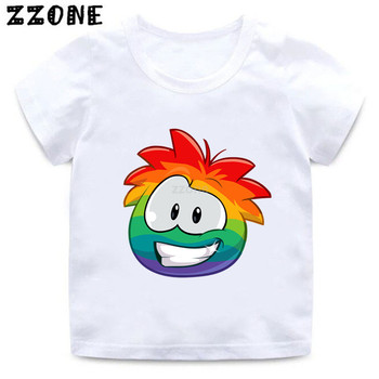 Boys/Girls KC22 Club Penguin Rainbow Puffle Cartoon Print T shirt Kids Funny Clothes Baby Summer Short Sleeve T-shirt image