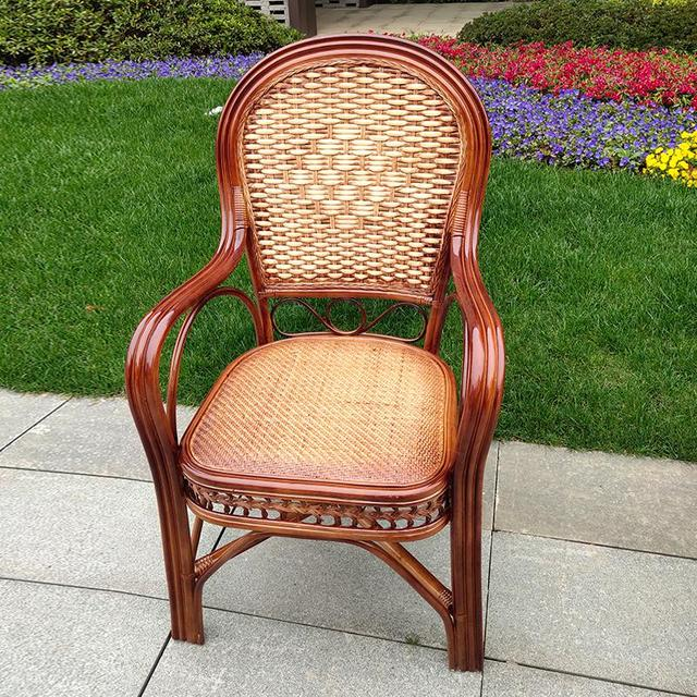 600 Rattan chair elderly chair high back outdoor leisure balcony office Mahjong chair Indonesia natural single real rattan chair 3