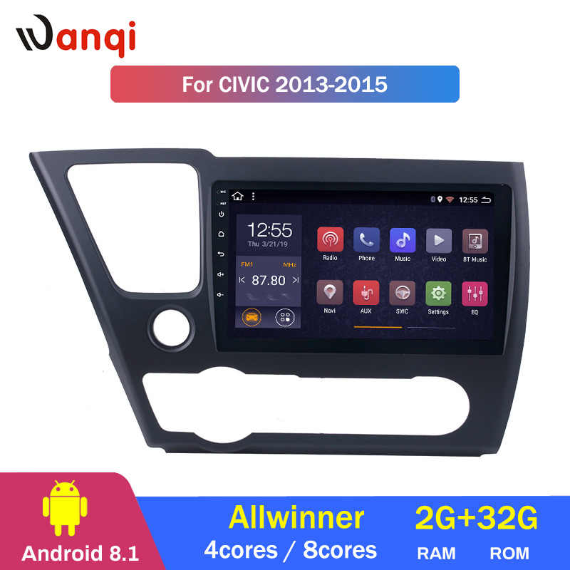 Factory direct sales  8 Cores  2+32G Android 8.1 car audio 2.5D Screen dvd player for Honda Civic 2013 2014 2015 support RDS