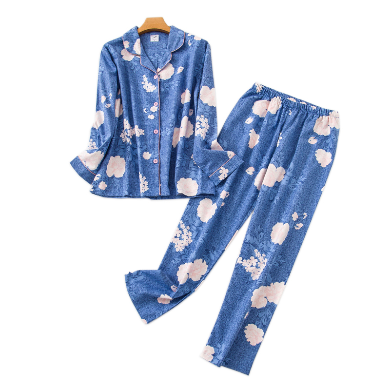 Korea Cute Cartoon 100% Cotton Pyjamas Women Pajamas Sets Japanese Sweet Winter Brushed Cotton Sleepwear Women Pijamas Mujer