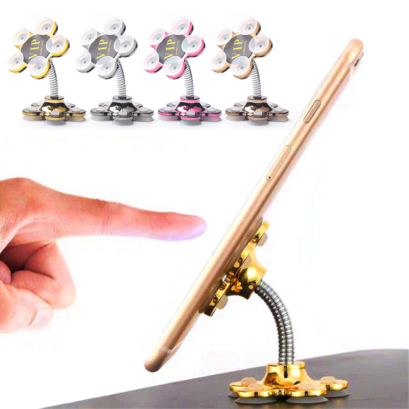 New Plum Flower Double-sided Suction Cup Desktop Phone Holder Portable Scaffolding Suction Desk Smartphone Support