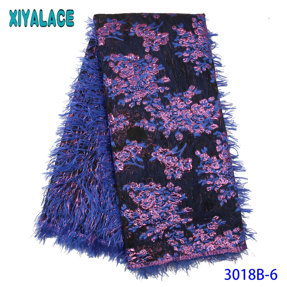 Popular Brocade Lace Fabric New African Nigerian Jacquard Lace Nigeria French Bridal Lace With Feather For Dresses KS3018B