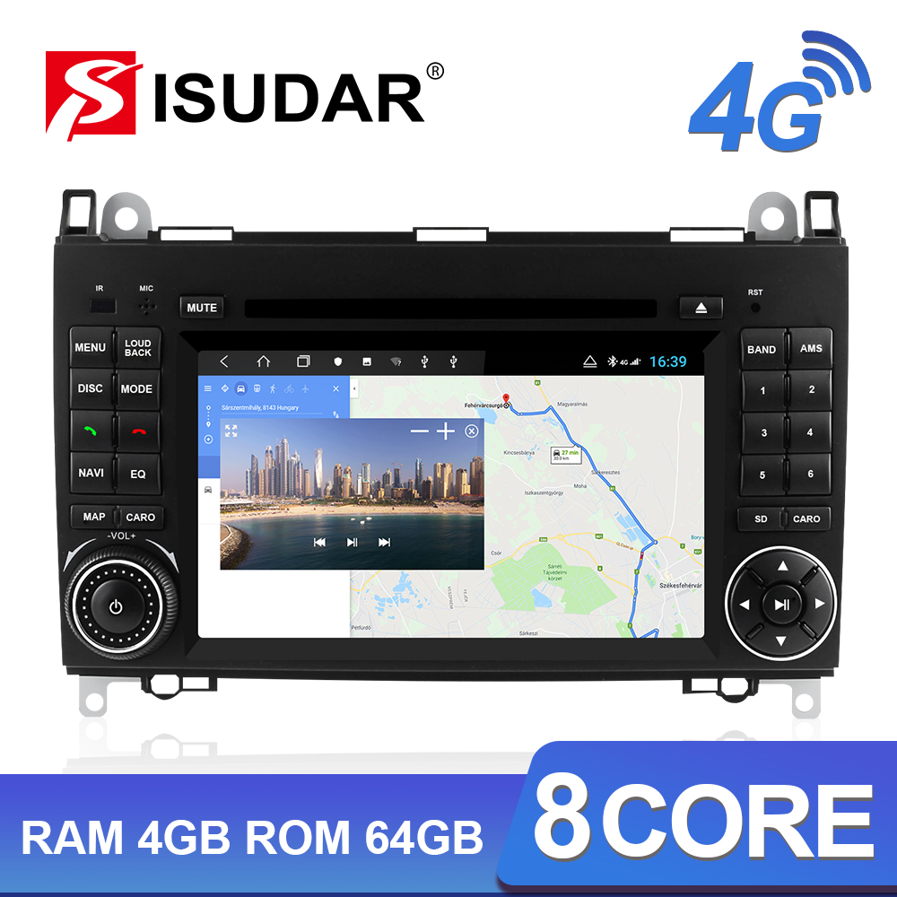 Isudar H53 4G <font><b>Android</b></font> 2 Din Auto <font><b>Radio</b></font> For <font><b>Mercedes</b></font>/<font><b>Benz</b></font>/Sprinter/<font><b>W169</b></font>/B200/B-class Car Multimedia GPS 8 Core RAM 4G ROM 64G DVR image