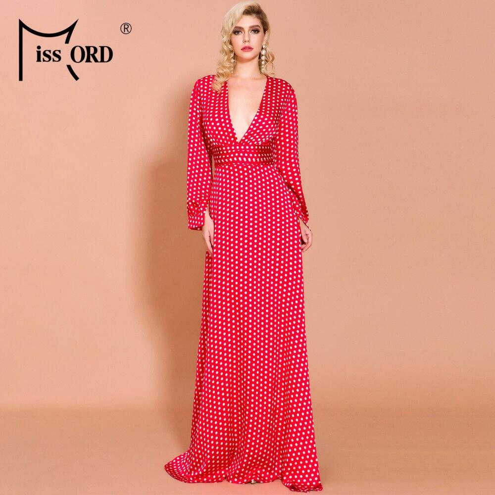 Missord 2019 Sexy Spring And Summer Deep-V Small  Dot Split Beach  Elegant Floor-Length Dress FT18443-1