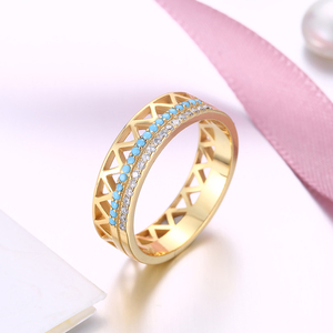 Image 3 - DOM Women Rings 925 Sterling Silver Turquoise Zircon Fashion Gold Finger Rings for Women Wedding Engagement Jewelry Gift SVR224