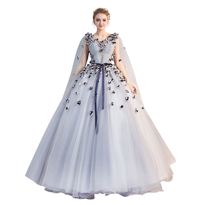 Quinceanera Dress V-neck Party Prom Ball Gown Sweet Floral Print Solo Performance Quinceanera Dresses Plus Size Gowns