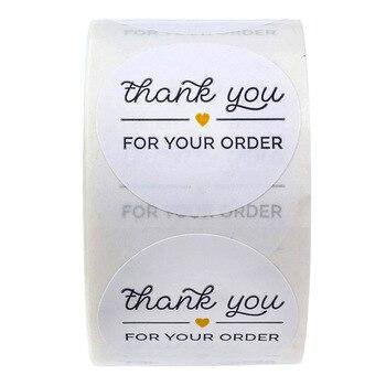 """1 นิ้วสีดำ """"ขอบคุณสำหรับ ORDER"""" สติกเกอร์ซีลป้าย 500 PCS สติกเกอร์ Scrapbooking สำหรับแพคเกจเครื่องเขียนสติกเ..."""