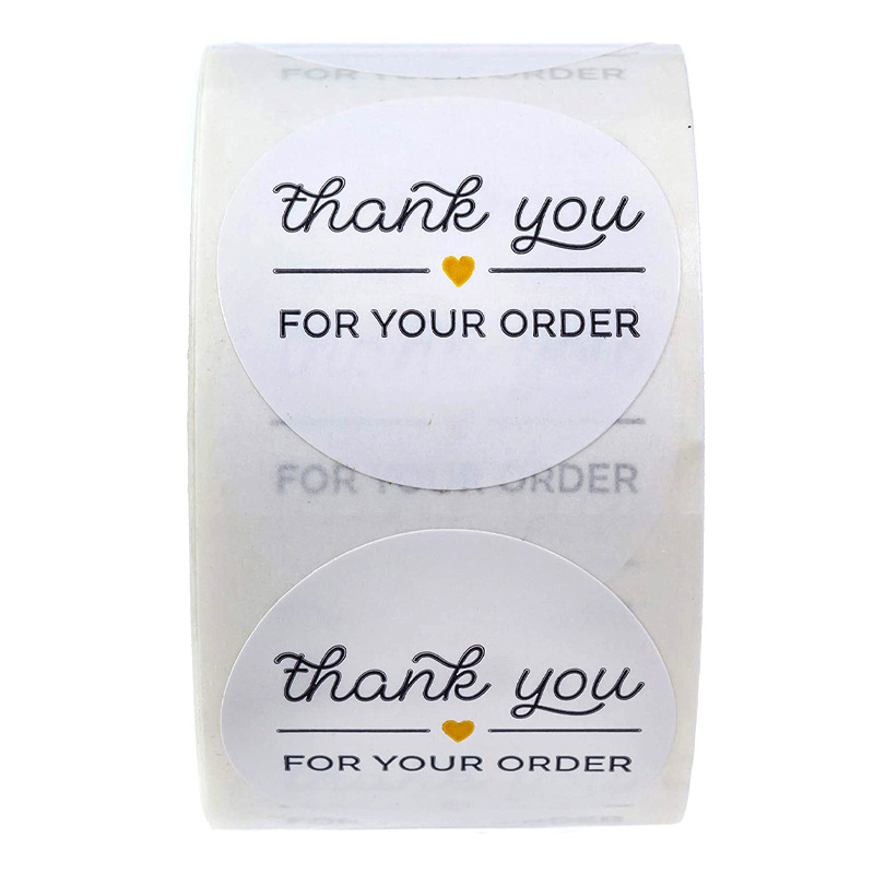 "1 Inch Round Black ""THANK YOU FOR YOUR ORDER "" Stickers Seal Labels 500pcs Stickers Scrapbooking For Package Stationery Sticker"