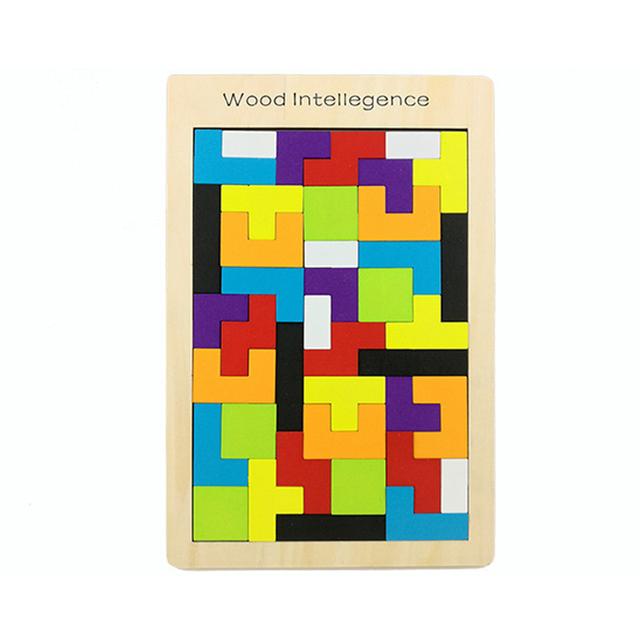Wooden Tangram Tetris Cube Puzzle