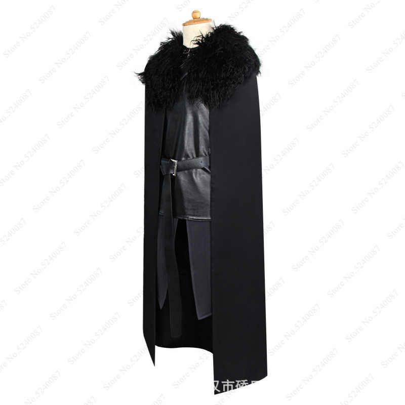 Game of Thrones Jon Snow Wig Cosplay Fancy Halloween Costume Men Fur Cloak Capes Jackets Coats Long Robes Vest Gloves Foot Cover