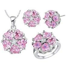 Романтический розовый комплект ювелирных изделий для женщин