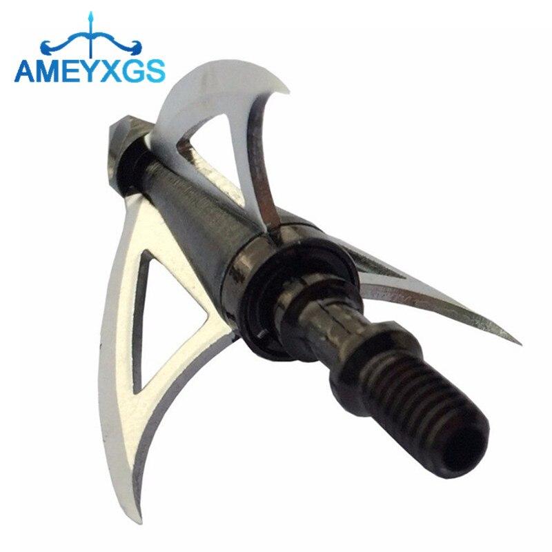 10Pcs 100 Grain Archery 3 Fix Blade Broadhead Arrowhead Steel Arrow Tips Screw-In Arrow Head For Hunting Shooting Accessories