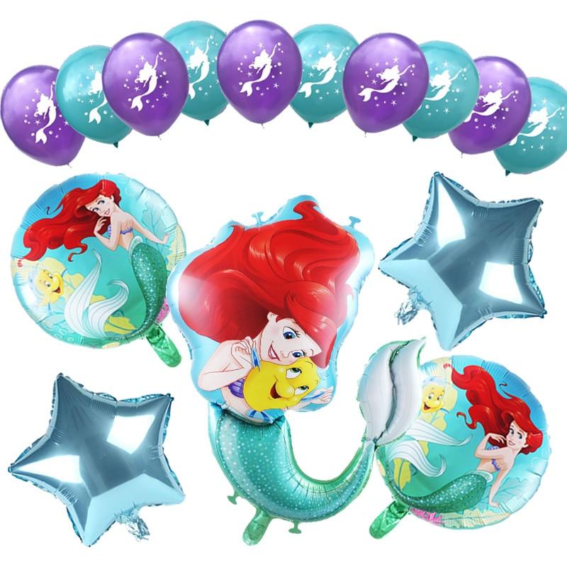 1set Cartoon Mermaid Ariel Disney Princess Foil Balloons Baby Shower Birthday Party Decorations Kids Toys Girl 10inch Latex Ball