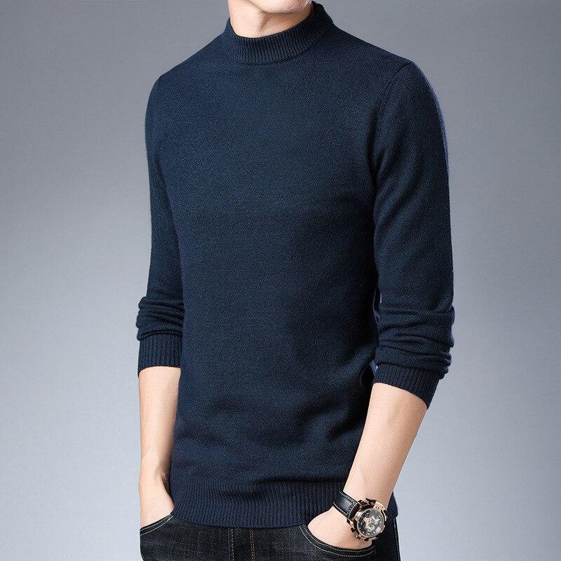 Winter New Style Men's Sweater Solid Color Half-Turtle-Neck Korean-style Fit Angora Sweater Men's