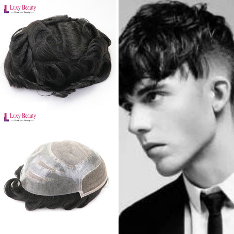 MTO-G-8X10-1B# Mens Toupee Hair PU With French Lace Wigs For Men European10x8inch Remy Human Hair Replacement Systems Toupee