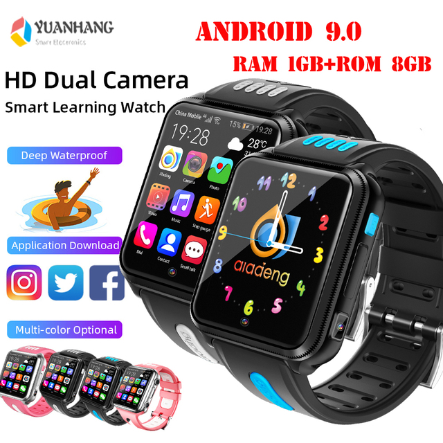 Android 9.0 Smart 4G Remote Camera GPS WI-FI Trace Locate Kids Student Google Play Bluetooth Smartwatch Video Call Phone Watch