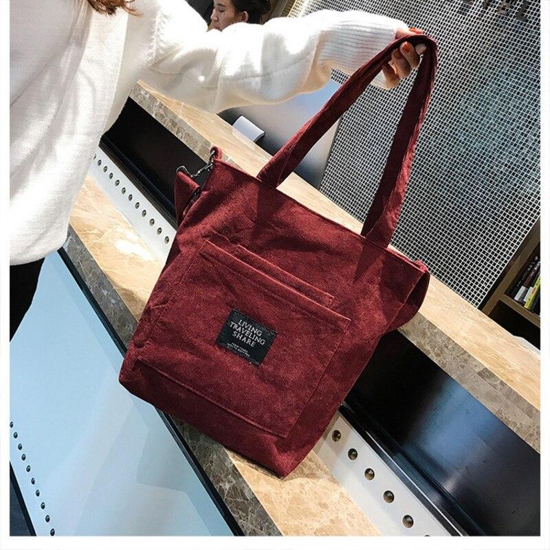 Purse Korean Fashion Corduroy Student Shoulder Bag Solid Color Zipper Shoulder Strap Messenger Bag Mobile Phone Bag*