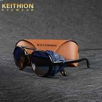 KEITHION MARKE DESIGN Steampunk Runde Sonnenbrille Mode Frauen Männer Sonnenbrille Retro Goggle UV400 Shades Brillen 9757