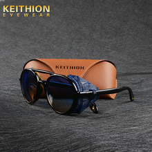 Женские и мужские солнцезащитные очки KEITHION, круглые солнцезащитные очки в стиле стимпанк, ретро очки с защитой UV400, 9757