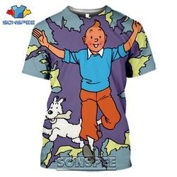 SONSPEE 3D Print Tintin t-shirty mężczyźni kobiety Casual japońska moda uliczna Harajuku Hip Hop z krótkim rękawem Cartoon Tees topy koszula