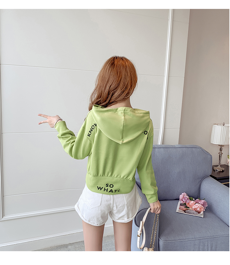 Autumn Cropped Hoodies Women 2019 New Korean Edition Long Sleeve Letter Print Hooded Casual Sweatshirt Pullovers Harajuku Tops 137