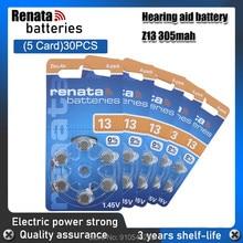 30 pces/5 pacote 100% baterias avançadas do aparelho auditivo da bateria da pilha do botão de renata a13 13a za13 13 1.45v