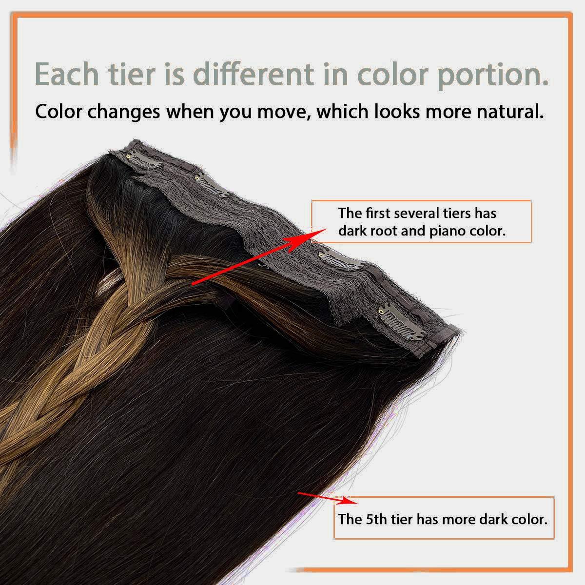 Extensões de cabelo de auréola reta invisível