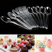 Tableware Spoon Plastic Disposable Mini Dessert Ice-Scoop Party Fashion 25/50pieces