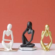 Decoração de casa resina escultura pensador personagem abstrato estátua arte estilo europeu para decoração casa moderna prateleira do escritório desktop