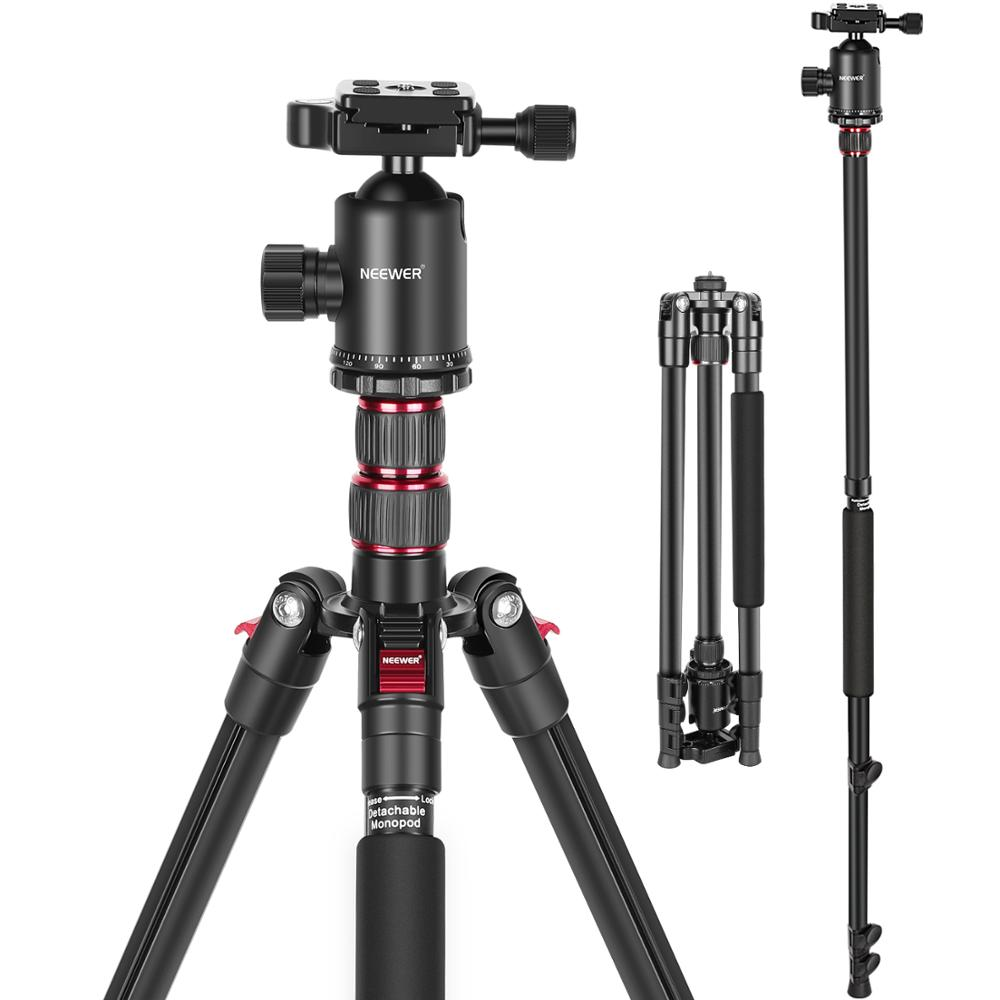 Neewer Camera Tripod for DSLR, 2-in-1 Compact Aluminum Tripod Monopod with 360 Degree Ball Head, 2 Center Axis, QR Plate