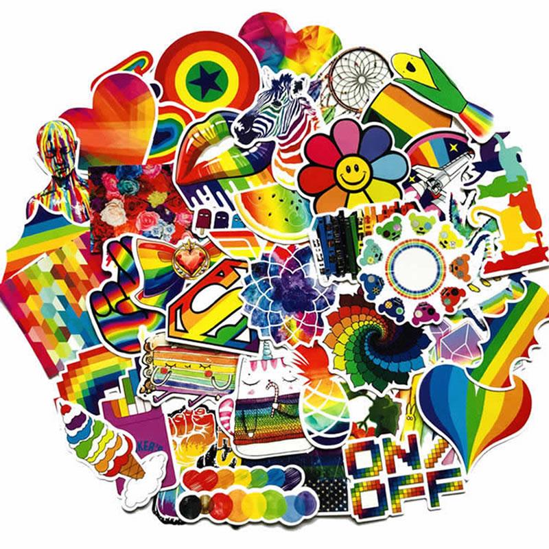 10/30/60 pçs moda pvc à prova dwaterproof água arco-íris adesivos de guitarra skate mala motocicleta engraçado graffiti adesivo criança brinquedo clássico