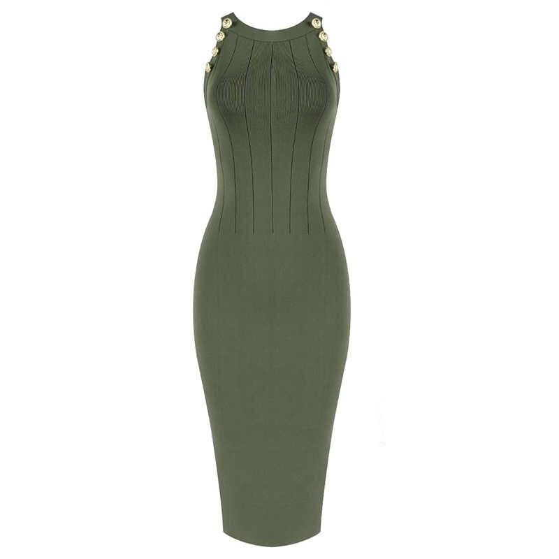 Top Quality Celebridade Verde Cáqui Sem Mangas Rayon Bandage Vestido de Noite Vestido de Festa