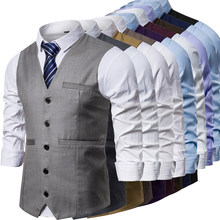 2020 Waistcoat Dress Vests For Men Casual Slim Fit Mens Autumn Formal Business Jacket(China)