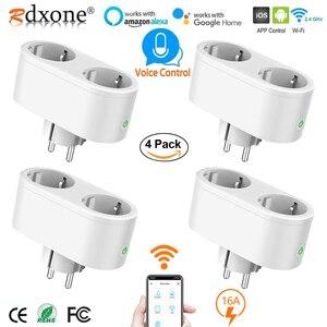 Image 1 - Wifi חכם שקע 2 ב 1 חכם תקע 16A האיחוד האירופי Outlet תקע צג אנרגיה Saver עובד עם Google בית מיני Alexa
