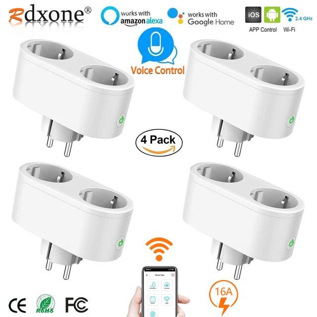 Wifi חכם שקע 2 ב 1 חכם תקע 16A האיחוד האירופי Outlet תקע צג אנרגיה Saver עובד עם Google בית מיני Alexa