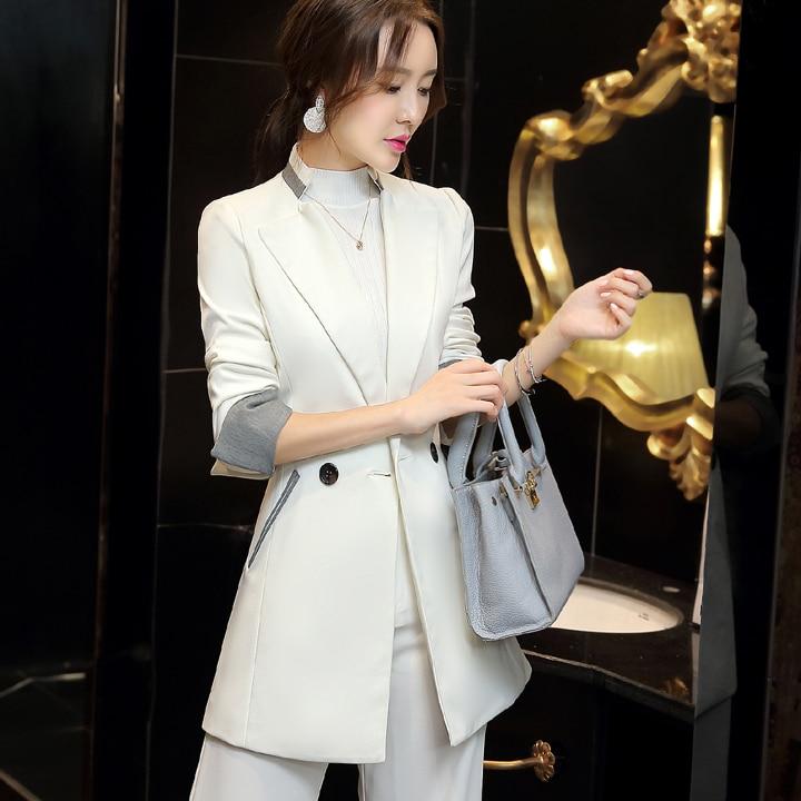 Patchwork Cuff Mandarin Collar Long Blazer 2020 Ladies Spring Autumn Casual Women Long Jacket