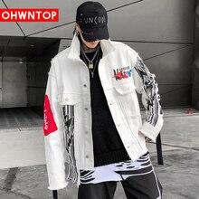 Men Hip Hop Irregular Printed Denim Jackets Harajuku Fashion Coats Streetwear Casual Male Couple Loose Long Sleeve Jeans Jacket