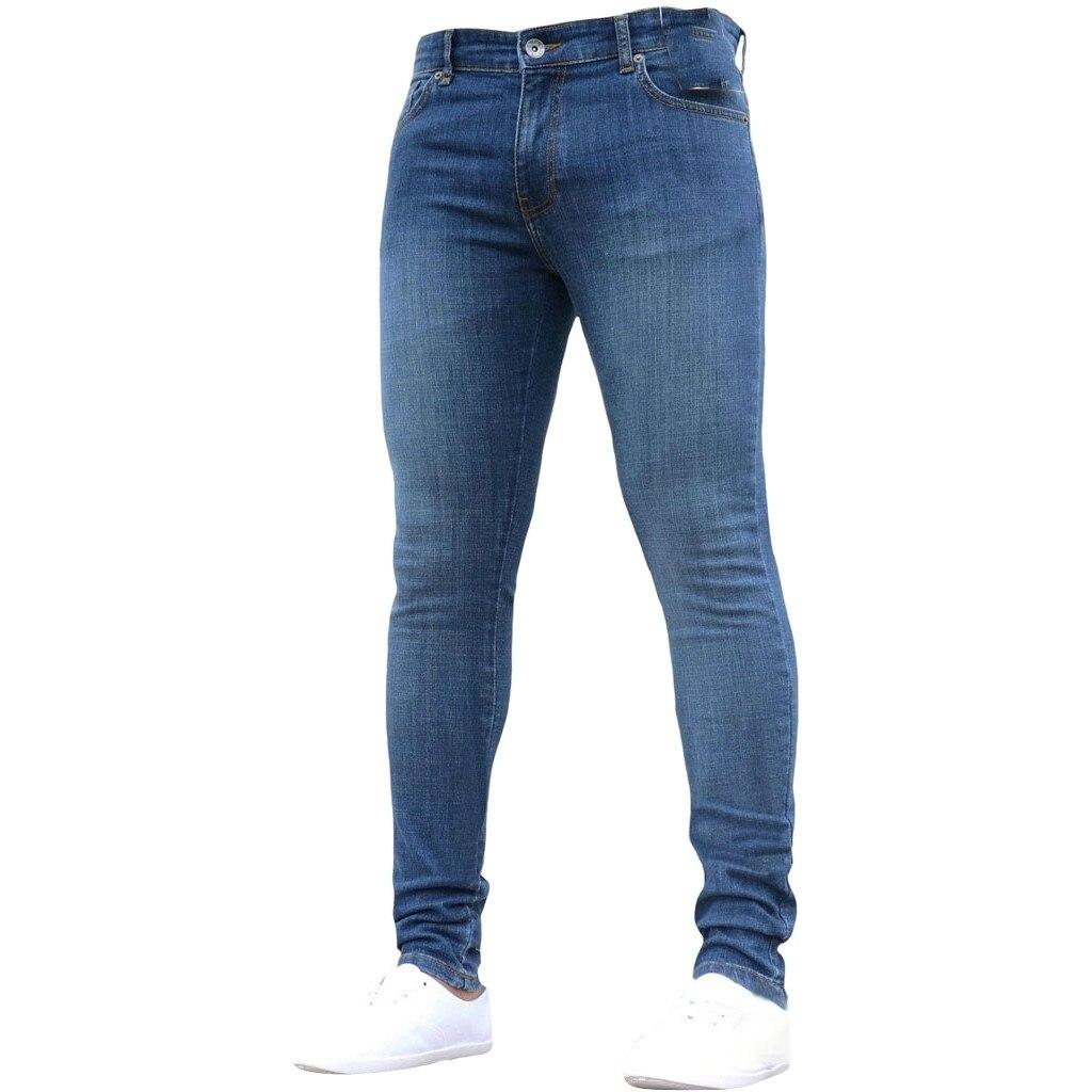 Men's Pure Color Denim Casual Mens Jeans Cotton Skinny Jeans Men Straight Mens Denim Jeans Hip Hop Male Stretch Trouser Pants