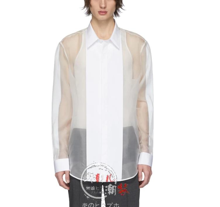 S-7XL!!The new men's casual versatile transparent shirt minimalism patchwork organza long-sleeved shirt semi-seep top