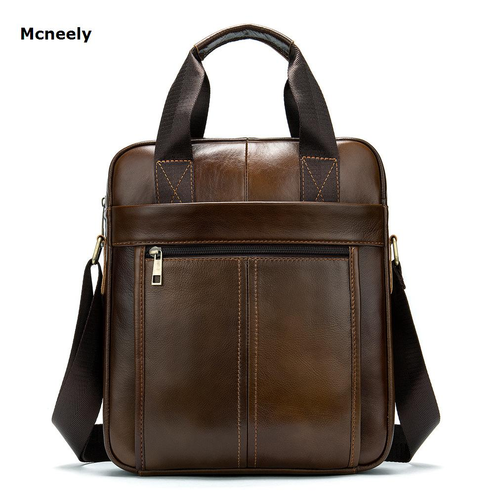 MCNEELY Vintage Men's Cowhide Messenger Bag Genuine Leather Men's Business Pad Bag Leisure Single-shoulder Cross-body Zipper Bag